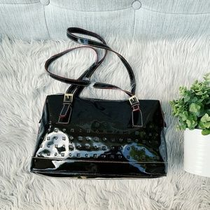 Arcadia Black Genuine Embossed Leather Purse